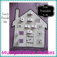 Multiplication Houses- Free Printable math worksheets for 1-12
