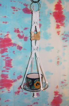 Small Macrame Plant Hanger White Cord and by FunkyJunkyVintage