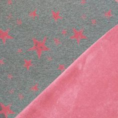Pink stars on Gray stretch sweat with Pink Fleece Back. knit fabric by the half meter