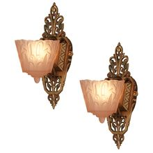 Pair of Ornate Polychrome Slipper Shade Sconces c1930