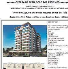 Carlos Nuñez Logroño Asesor Inmobiliario carlos@mudate.net Ofic.. 809-540-2685 Cel. 809-605-1170 OFERTA DE FERIA SOLO POR ESTE MES+++++++++++ TODOS LOS NIVELES AL MISMO PRECIO, APROVECHE PISO ALTO Y AHORRE DESDE:$2,000 a $3,000 DOLARES POR NIVEL Torre de Lujo, en una de las mejores Zonas del País Desde el 3er. Nivel Todos con Vista al mar, Excelente Sector y Ubicación