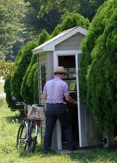 Living the Amish way......It is common for Amish communities to allow the use of telephones, but not in the home. Instead, several Amish families will share a telephone in a wooden shanty between farms.