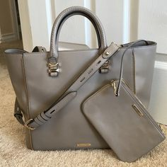 Rebecca Minkoff mini perry tote Gently used tote with adjustable/removable shoulder strap. Taupe colored. Bag has two pen marks on the side that is worn against body, very minor imperfections throughout, otherwise in great condition! The inside is spotless. Dust bag included. Rebecca Minkoff Bags Totes