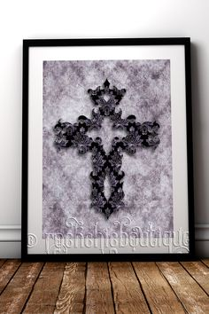Intricate damask gothic style cross fine art print. A beautiful addition to your alternative home decor #RockChicBoutique #Gothic #WallArt