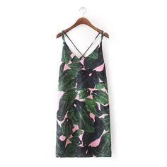European Station Summer New Tropical Style Palm Leaf Print Beach Casual Dress Sleeveless Spaghetti Strap V-neck Vestido Curto