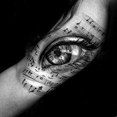 Cool Music Staff Realistic Eye Inner Arm Tattoo Design Ideas For Male music tattoo ideas 50 Music Staff Tattoo Designs For Men - Musical Pitch Ink Ideas Tattoos Arm Mann, Arm Tattoos For Guys, Couple Tattoos, Music Staff Tattoo, Music Tattoos, Tatoos, Music Tattoo Designs, Tattoo Designs For Women, Music Tattoo Sleeves