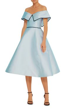 Elizabeth Kennedy Light Blue Off The Shoulder Cocktail Dress with full knee tea-dress length.  This is a WOW dress. |||  Moda Operandi