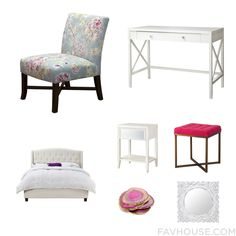 Home Decor With Upholstered Chair, Threshold Desk, Tufted Headboard And Accent Table