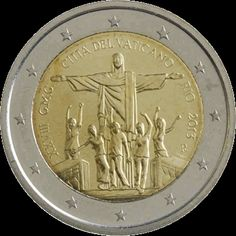 Vaticano 2€-2013 _Río_ Piece Euro, Numismatic Coins, Euro Coins, Commemorative Coins, Proof Coins, World Coins, Coin Collecting, Postage Stamps, Precious Metals