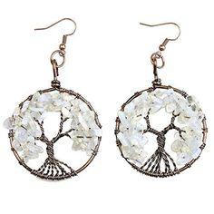 SHIP BY USPS: BAYUEBA Dangle Earrings Tree of Life Amethyst Rose Crystal Chakra Gemstone Jewelry