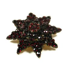 Antique Victorian Garnet Brooch, Bohemian, c. Garnet And Gold, Red Accessories, Antique Brooches, Gold Wash, Bohemian, Victorian, Jewelry, Fine Jewelry, Brooch