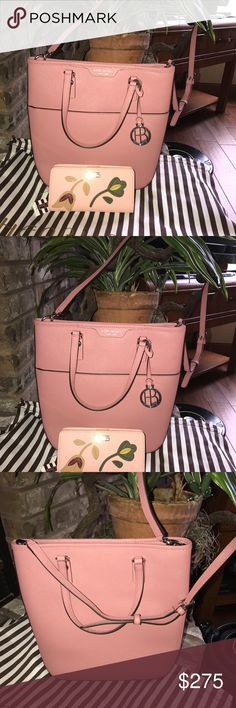 HENRI BENDEL-NWOT Saiffano Leather-Bucket bag! This is a VERY HARD TO FIND COLOR  IN Henri Bendel it is a Dusty Rose Color!!Not only is it a hard to find color it's a very rare shape is a Bucket Style. It can be carried as a tote! This bag also has a ADJUSTABLE AND REMOVABLE STRAP. So it can be used as a shoulder bad or a Cross Body!! This comes with the Dust bag and has silver hardware accents!! This also comes with a MATCHING WALLET with beautiful flowers on it!! It's so cute!!!🌈🌈🌈…