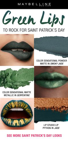 This St. Patrick's Day go out in style with the perfect green pout. Maybelline has the green lipstick you're looking for in a powder matte or matte metallic finish. Go for lip art with the Lip Python Kit! Green Lipstick, Lipstick For Fair Skin, Lipstick Art, Lip Art, Lipstick Colors, Makeup Trends, Makeup Tips, Beauty Makeup, Saint Patricks Day Makeup