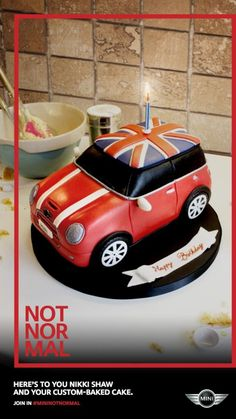 Grupa docelowa: nienormalni, MINI not normal campaign Mini Morris, Mini Cakes, Cupcake Cakes, Car Cakes, Cupcake Ideas, Mini Cooper Cake, Mini Uk, Biscuit, Specialty Cakes