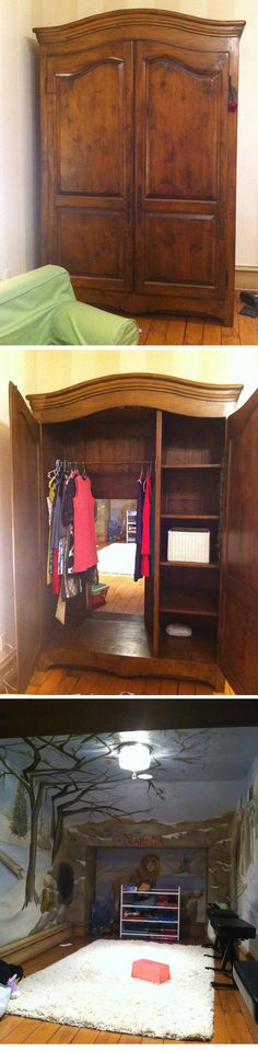 a wooden wardrobe with a passage to Narnia play room, but I wouldn't paint it all Narnia-y. It ill be way cooler than that.