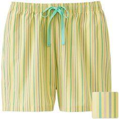 UNIQLO Relaco Shorts (Stripe) (1,230 INR) ❤ liked on Polyvore featuring shorts, uniqlo, multi colored shorts, colorful shorts, cotton shorts and relaxed shorts