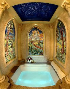 This really needs to be available to everyone to stay in for like 1 night. Cinderella Suite at Disney World, this is the custom-made 4 x multi-jet Jacuzzi with waterfall faucet and chromatherapy lighting. Love the star lights!