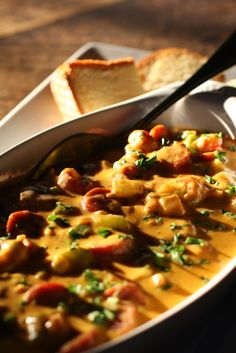 Crawfish and andouille fondue