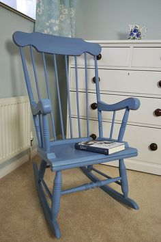 Why don't you while away the hours with a good book on this delightful shabby chic rocking chair .... hand painted in Annie Sloan with a Greek Blue & Paris Grey mix, it's relaxation heaven!