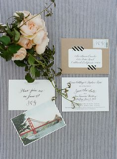 SF post card invites with calligraphy, kraft paper, washi tape. Stationery, Calligraphy: Little Miss Press / Vintage Stamps for Invitation: Verde Studio / S and G charms on Invitation: Deedles Design / Invitation ribbon: The Ribbonerie / Save the Date Postcard: PS Paper.