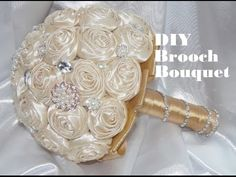 Made to order Brooch Bouquet Wedding Bridal Flowers Satin Roses Bride Bridesmaids for sale Flowers Roses Bouquet, Ribbon Bouquet, Wedding Brooch Bouquets, Rose Wedding Bouquet, Diy Bouquet, Bridal Flowers, Fabric Flowers, Diy Flowers, Fabric Bouquet
