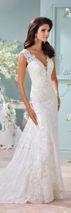 The David Tutera for Mon Cheri Spring 2016 Wedding Gown Collection - Style No. 116204 Dayton #laceweddingdresses