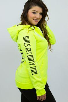 LOVE Dirt Zip Up http://shop.offroadvixens.com/products/love-dirt-zip  #girlsgetdirtytoo #offroadvixens #neon #womensclothing