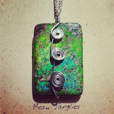 Green Jasper Spiral Wire Wrapped Rectangle Pendant / Necklace  Handmade Irish Jewellery  #beaujanglies Irish Jewelry, Wire Wrapped Jewelry, Handmade Necklaces, Wire Wrapping, Jasper, Spiral, Jewerly, Wraps, Pendant Necklace
