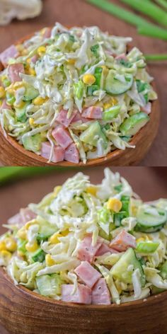 Made with fresh cabbage, cucumbers, ham, corn & scallions. This tasty, crunchy Cabbage & Ham Salad is packed with vitamins & makes a quick lunch or side dish.Cabbage ham salad- without the corn it looks delicious! Ham Salad, Soup And Salad, Cucumber Salad, Cucumber Recipes, Cucumber Chutney, Cucumber Ideas, Turkey Salad Sandwich, Lettuce Salad Recipes, Fresh Salad Recipes