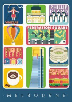 Melbourne Art Poster, Melbourne Print Wall Decor, Melbourne Attractions, Bar Decor, Travel Art, Kitchen Art, Retro Poster