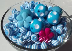 10mm 50pcs.  Bright Blue Striped beads Striped by SofiasCottage, $1.95
