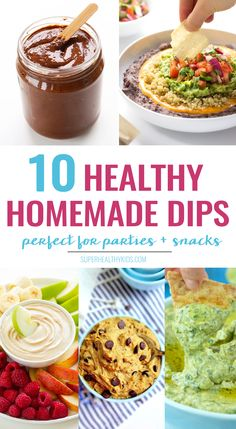 10 super healthy Homemade Dips that every kid will love! If you want your kids to eat more fruits and veggies - dips are are great way to do it! www.superhealthykids.com