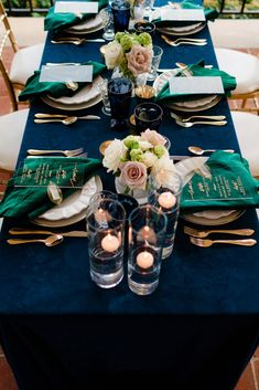 Sophisticated Elegance Wedding Inspiration Shoot La Tavola Fine Linen Rental: Velvet Navy with Velvet Emerald Napkins Green Wedding Decorations, Wedding Themes, Wedding Centerpieces, Wedding Table, Reception Table, Wedding Reception, Emerald Green Weddings, Kelly Green Weddings, Emerald Wedding Colors