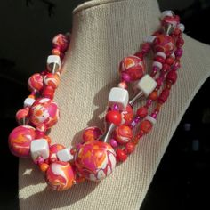 Polymer Clay Beaded Necklace. HAWN 4. by ABergieCreation on Etsy