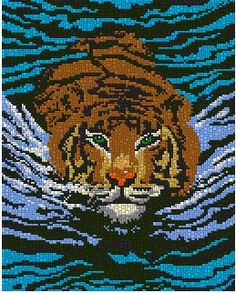 Stormy Waters Stormy Waters, Graph Design, Graph Paper, Plastic Canvas Patterns, Perler Beads, Cross Stitching, Wildlife, Cats, Pictures