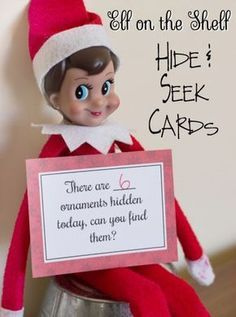 Cards that your elf has hidden something the kids have to find. Has blank cards so that you can create your own hidden items. Free Printable cards of hidden items for your Elf to hold Noel Christmas, Christmas Holidays, Christmas Crafts, Christmas Ideas, Christmas Goodies, Christmas 2017, Happy Holidays, Christmas Ornaments, To Do App