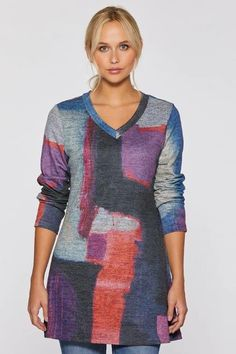 Absolution Soft Touch V-Neck Tunic by Claire Desjardins. #clairedesjardins #clairedesjardinsart #ClaireDesjardinsApparel #DesignerJacket #JeanJacket #cami #WomensApparel #WearableArt #designerclothing #apparel #designerapparel #artandfashion #fashionandclothing #artonclothing #abstractart #abstractpainting #designerclothes #womensapparel #Tunic #Dress #Jacket #MotoJacket #WomensTop #Scarf #Dress #Blouse