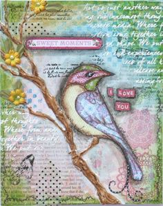 Mixed Media Tutorial with Gabi Pollacco  Would like to try to make something similar to hang in my scrapbook room.
