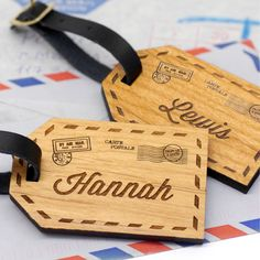 A set of two beautiful wooden luggage tags etched with the couple's first names alongside a vintage airmail style design. A lovely gift for a couple embarking on a trip together, these luggage tags c. Trotec Laser, Laser Art, Wooden Tags, Wooden Gifts, Gravure Laser, Laser Cutter Projects, Laser Cutter Ideas, Router Projects, Personalized Luggage Tags