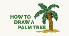 Leaf Drawing Easy, Palm Tree Drawing Easy, Palm Tree Leaves, Palm Trees, Trees Drawing Tutorial, Drawing Tutorials, Drawing Ideas, Drawing Tips, Cartoon Palm Tree