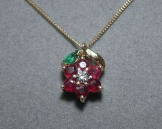 14k Ruby Diamond Emerald Pendant with 10k Gold by EverythingIOwn, $145.00