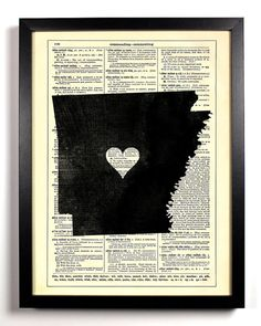 Arkansas State Dictionary Book Print Upcycled by StayGoldMedia, $6.99