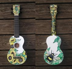 Sunflower Custom Hand-decorated Soprano Ukulele by CedarAndSycamore on Etsy Ukulele Art, Ukulele Songs, Ukulele Chords, Guitar Art, Ukelele Painted, Painted Guitars, Thrasher, Ukulele Design, Instruments