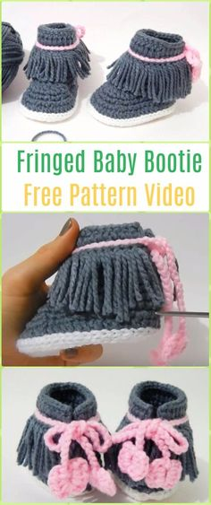 Crochet Fringed Baby Booties Free Pattern Video -Crochet Ankle High Baby Booties Free Patterns