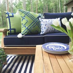 Lacefield Ginko and Navy Outdoor Pillows | Charlotte interior designer Traci Zeller #tassels #southernmade #lacefieldstyle