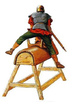 """""""A trooper practising vaulting on a wooden horse"""", Peter Connolly"""