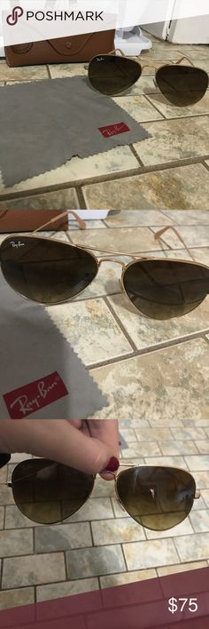 Authentic ray bans Tan/ brown frame. Barely used amazing condition Ray-Ban Other