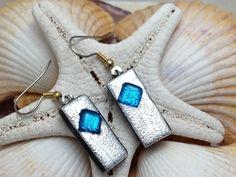 Silver and Aqua Blue Dichroic Fused Glass by RyanstonesFusedGlass