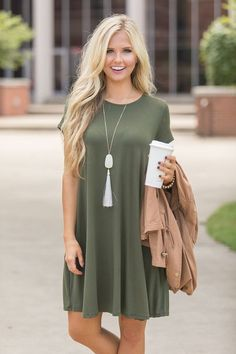 c3c308276339 Let s Just Relax Olive Dress CLEARANCE