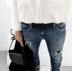 ripped denim details.